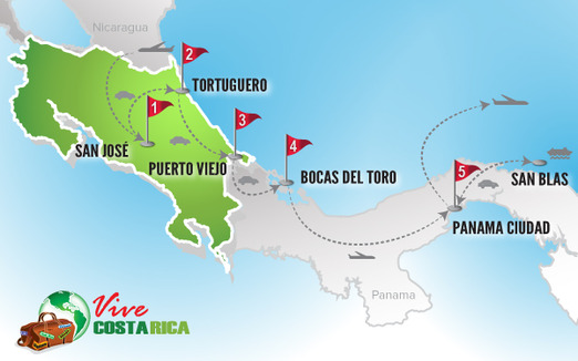 Circuito Costa Rica | Mapa combinado Panama