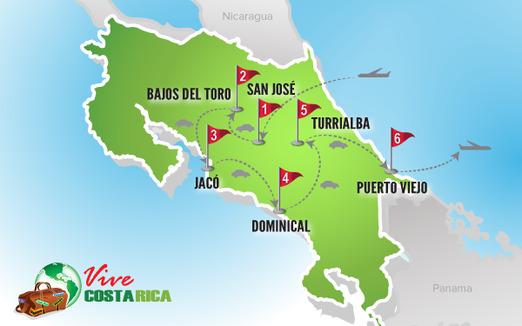 Circuito Costa Rica | Mapa luna de Miel