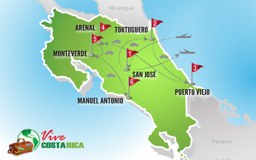Viajes a Costa Rica | Mapa Circuito Clásico