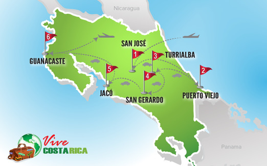 Circuito Costa Rica | Mapa destinos estrella