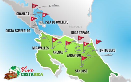 Circuito Costa Rica | Mapa combinado Nicaragua